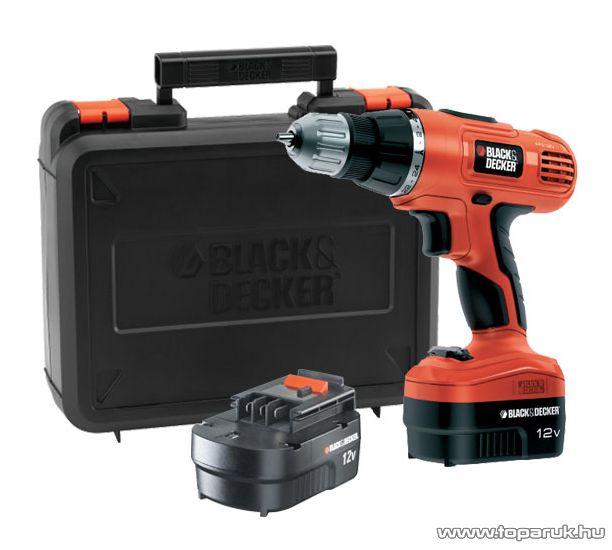 Black & Decker EPC126BK Akkumulátoros Kétsebességes fúró, csavarozó gép, műanyag kofferben, 2 db 12V-os akkumulátorral - Megszűnt termék: 2015. November