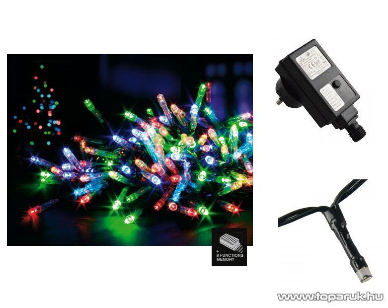 Design Dekor LED 400/M-8 Kültéri 400 LED-es fényfüzér, 8 féle fényjátékkal, zöld kábellel, 8 m hosszú, színes (multi) világítással