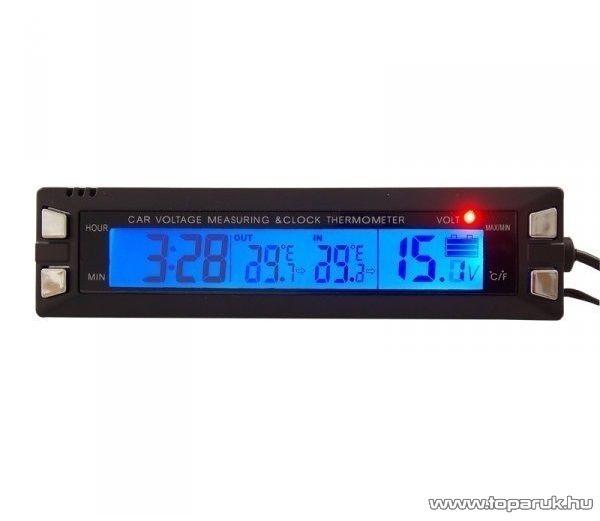 Autós óra LCD kijelzővel, külső - belső hőmérővel és feszültségmérővel, kék/narancssárga világítással