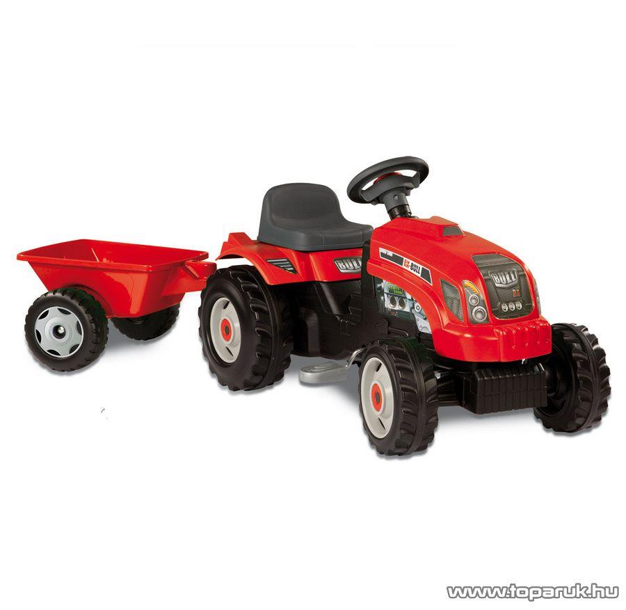 Smoby Bull játék traktor utánfutóval - piros (33045) - készlethiány