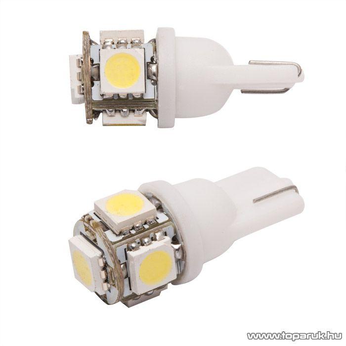 Carguard 5 SMD LED-es T10 izzó rendszám vagy belső tér világítás, fehér, 2 db / csomag (50999) - megszűnt termék: 2015. március