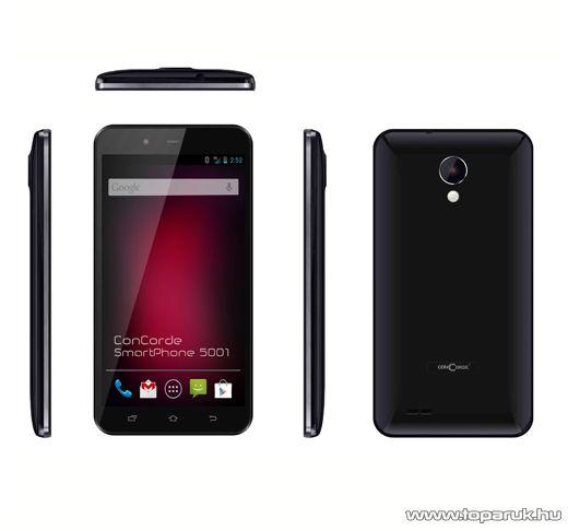 ConCorde SmartPhone 5001 (Dual SIM) 4GB kártyafüggetlen okostelefon Android operációs rendszerrel, fekete