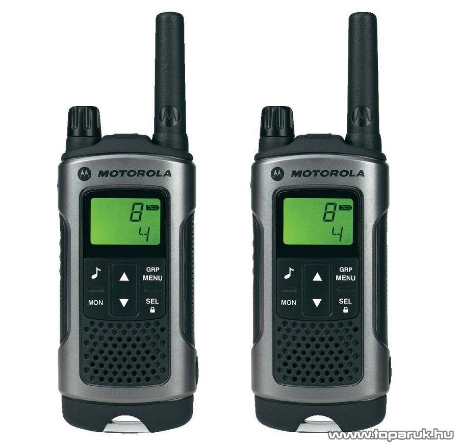 Motorola TLKR T80 adó-vevő készülék, 10 km walky talky, ezüst-fekete