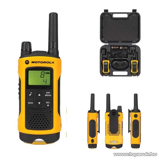 Motorola TLKR T80 Extreme adó-vevő készülék kofferrel, 10 km walky talky, sárga-fekete