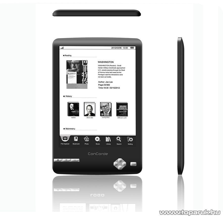 ConCorde ReadMan 6 E-book reader (olvasó) 4GB, fekete - megszűnt termék: 2015. július