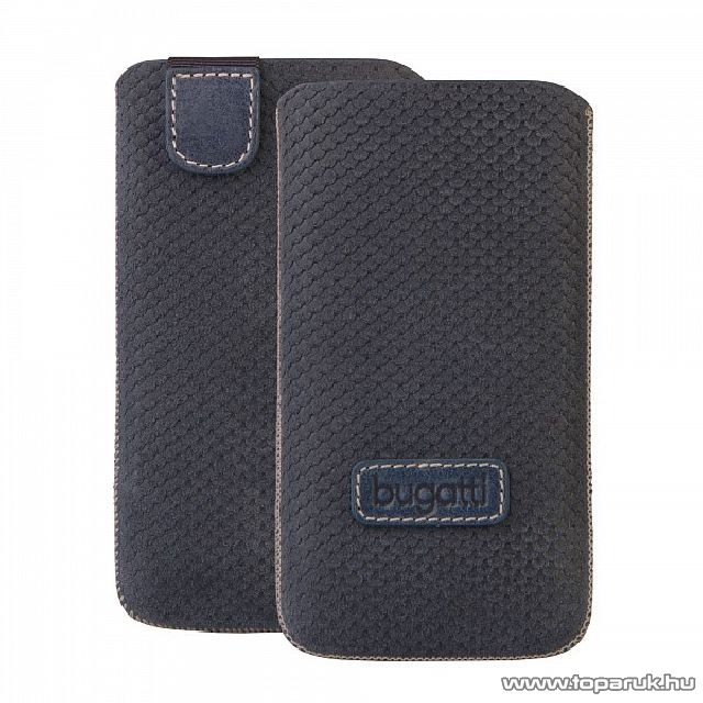 Bugatti Perfect Scale blue Apple iPhone 4/4S sötétkék álló bőrmobiltelefon tok (07783)