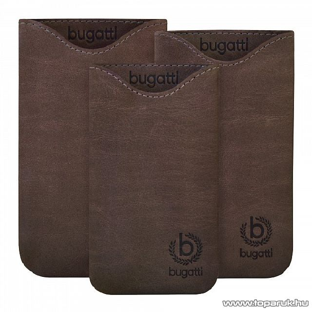 Bugatti Skinny umber M sötét barna álló bőrmobiltelefon tok, 72x123mm (07900)