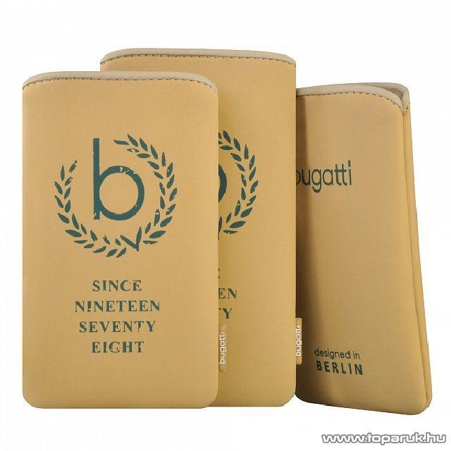 Bugatti SlimCase raffia SL bézs álló mobiltelefon tok, 134x77mm (07873)