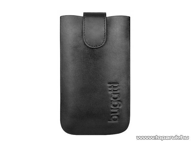 Bugatti SlimCase Leather M fekete színű álló bőrmobiltelefon tok, 7,3cm x 12,2cm (007312) - megszűnt termék: 2015. október