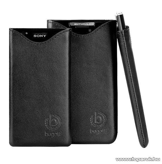 Bugatti SlimFit kézzel készített valódi álló bőrtok Sony Sola mobiltelefonhoz (08938)