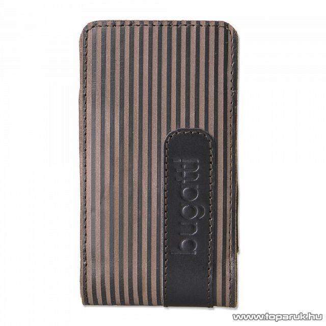 Bugatti Twin striped Leather M nemes borjúbőrből készült, álló mobiltelefon tok, 61 x 123 mm (07604)