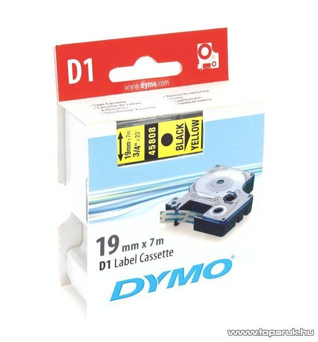DYMO D1 kazetta, 19mmx7m, fekete/sárga - megszűnt termék: 2016. július