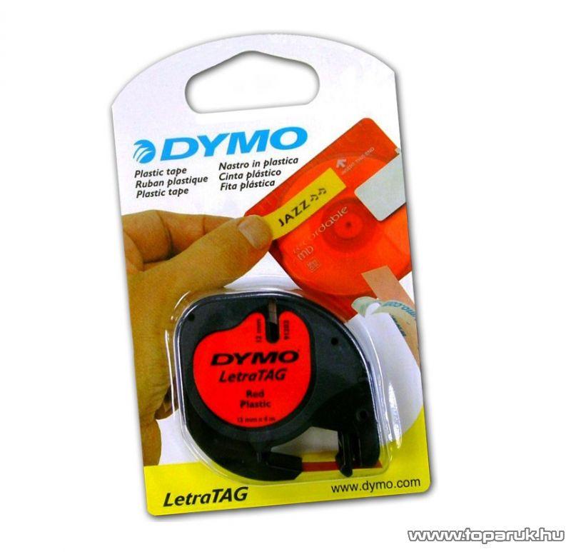 DYMO LETRATAG kazetta műanyag, 12mm x 4m, piros - megszűnt termék: 2016. július