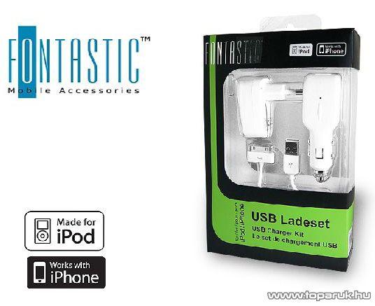 Fontastic iPhone BS-089 USB, autóstöltő, hálózati töltő csomag