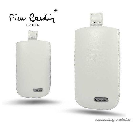 Pierre Cardin H10-11 Slim WHITE univerzális álló mobiltelefon bőrtok, fehér