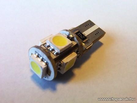 5 HighPower LED 360 fok látószög CAN-BUS beltér, vagy rendszámtábla megvilágító led (T10 W5W foglalatba) (LD30-W5W)