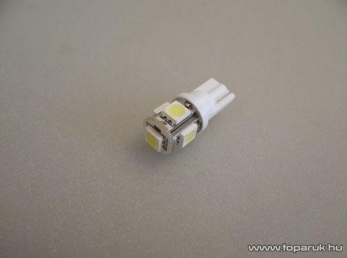 5 HighPower LED, 360 fok látószögű beltéri, vagy rendszámtábla megvilágító led, extra nagy fényerő (LD2-W5W)