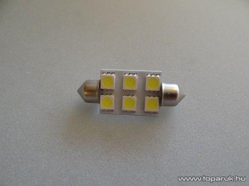 6 HighPower LED, 180 fok látószögű beltéri, vagy rendszámtábla megvilágító LED, jégfehér (LD14-C5W)