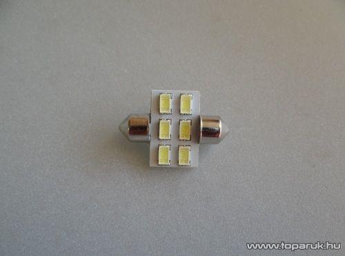 6 HighPower LED, 180 fok látószögű beltéri, vagy rendszámtábla megvilágító LED, 12V, 8W, jégfehér (LD16-C5W)