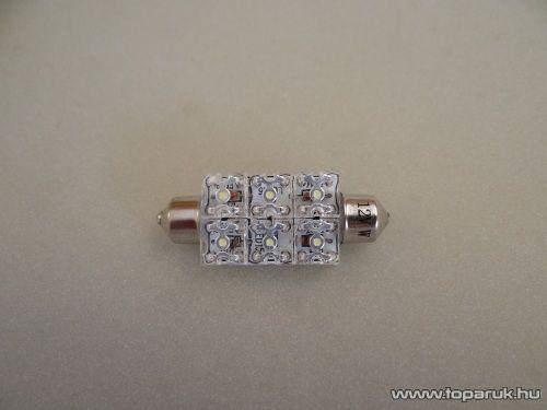 6 Piranha LED-es, 180 fok látószögű beltéri, vagy rendszámtábla megvilágító led, 12V, 8 W, jégfehér (LD36-C5W)
