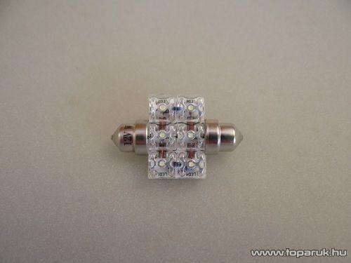 6 Piranha LED-es, 180 fok látószögű beltéri, vagy rendszámtábla megvilágító led, 12V, 8 W, jégfehér (LD37-C5W)