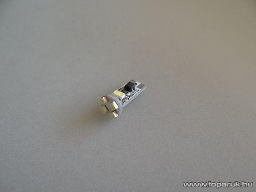 8 SMD LED 360 fok látószög, CAN-BUS beltéri, vagy rendszámtábla megvilágító LED, jégfehér (LD12-W5W)