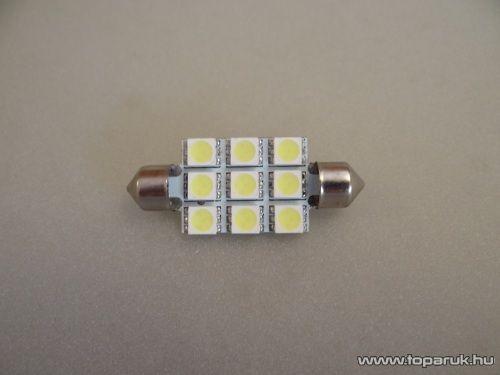 9 HighPower LED, 180 fok látószögű beltéri, vagy rendszámtábla megvilágító LED, 12V, 8W, jégfehér (LD15-C5W)