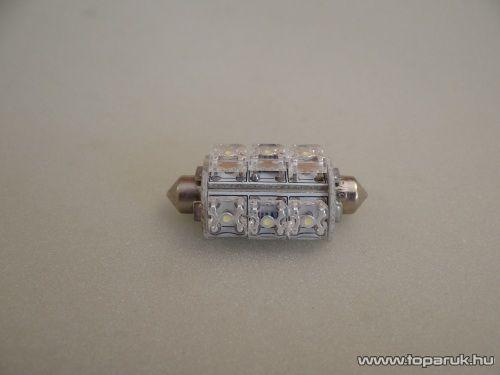 9 Piranha LED-es, 270 fok látószögű beltéri, vagy rendszámtábla megvilágító led, 12V, 8 W, jégfehér (LD22-C5W)