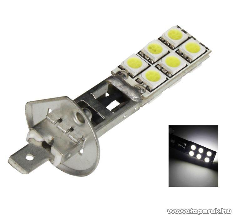 H1-es izzó foglalat helyére való, 12 SMD LED, 360 fokban világító, jégfehér (LD12d-HF)
