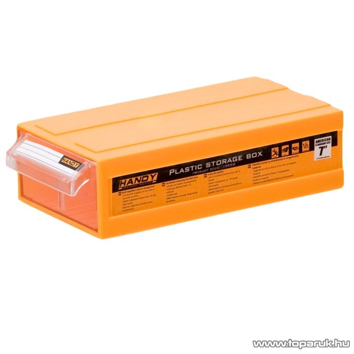 Handy Sorolható műanyag tároló doboz, narancs, 175x90x46mm (10980OR)