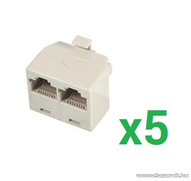 USE TT 18-2 Telefonelosztó 8P/8C, Y elosztó, 1 dugó - 2 aljzat, fehér, 5 db / csomag (TT 18-2)