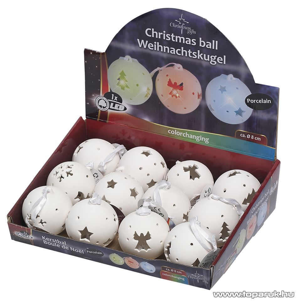 ARTI CASA EDC 8170 Karácsonyi fehér porcelán gömb függő dísz szett, narancssárga LED világítással