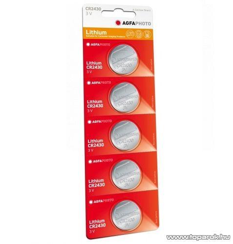 AgfaPhoto CR2430 gombelem, 3V, lítium, 5 db / csomag
