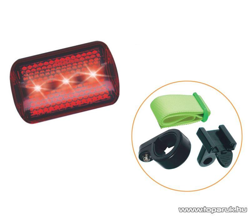 Bicikli lámpa 3 db piros LED-es (1-010)