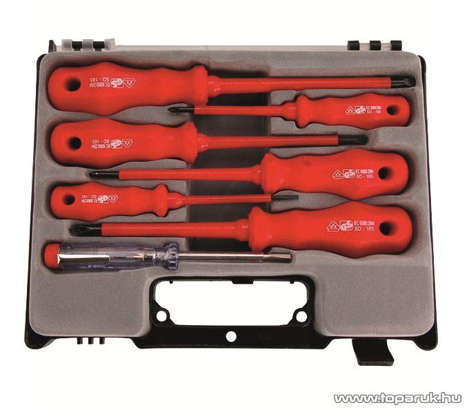 EXTOL MB 53085 Szigetelt csavarhúzó készlet + fáziskereső, műanyag kofferben - készlethiány