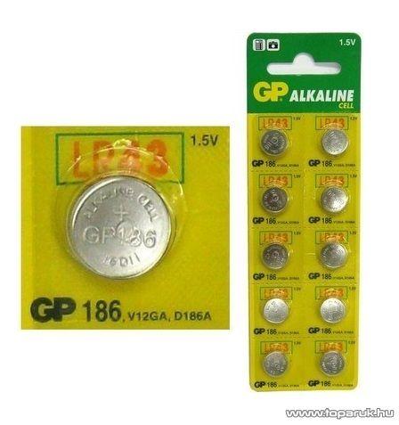 GP AG 12 Alkáli gombelem, 1,5V, 10 db / csomag