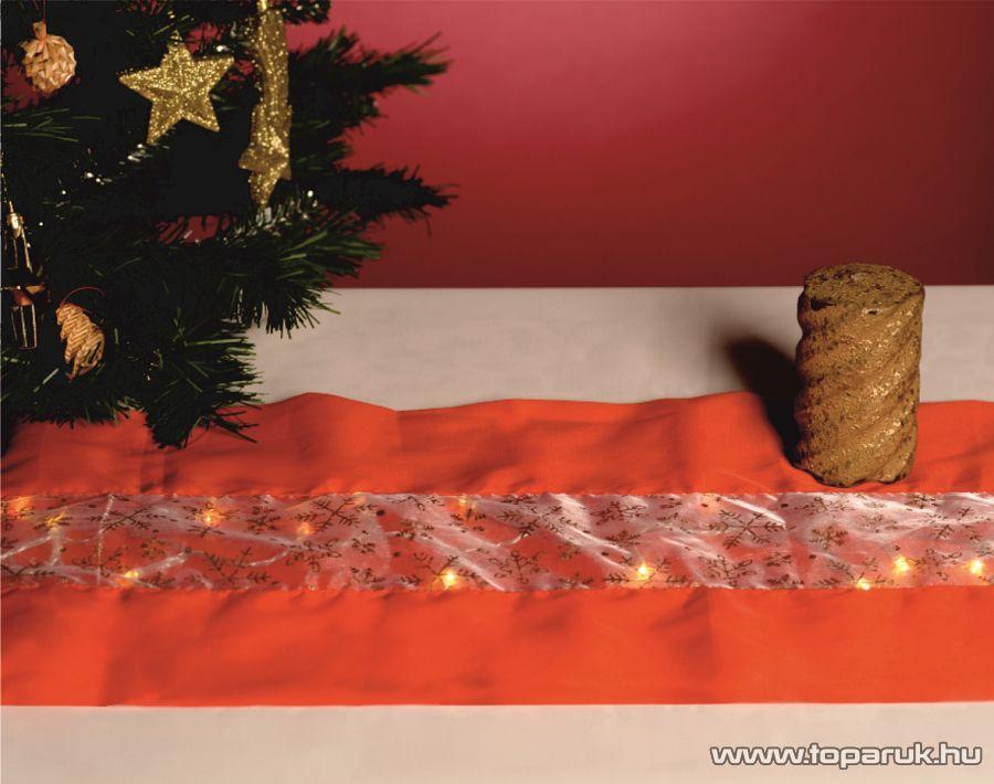 HOME KLT 10/RD Beltéri LED-es asztalterítő (futó) dekoráció, 30 x 110 cm, piros anyag