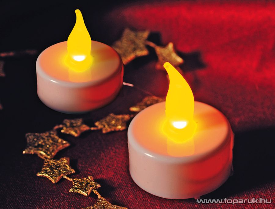 HOME CDB 2/WH Beltéri nagy méretű elemes LED teamécses szett (2 db), pislákoló fényjáték, fehér színű mécsesek