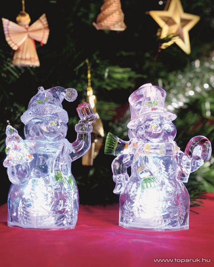 HOME CDM 2/C Beltéri 1 db színváltó LED-es mécses dekoráció (festett alapanyagú műanyag hóember) szett