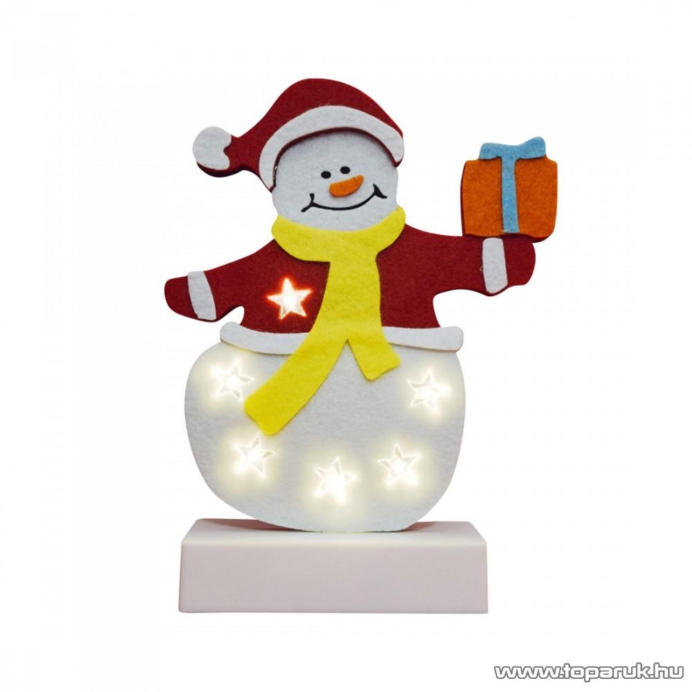 HOME CDM 62 Beltéri LED-es világító asztali dísz dekoráció, 6 db meleg fehér színű leddel, hóember dobozzal