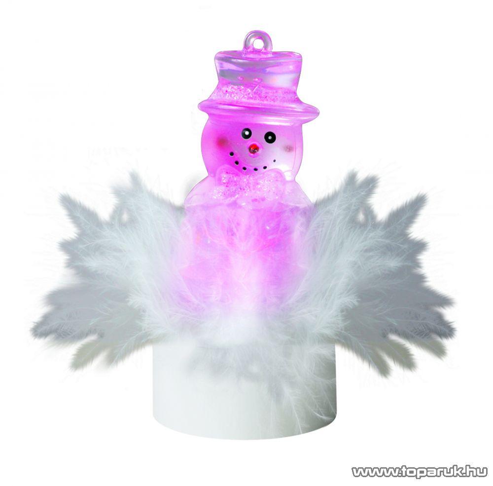HOME 1 db színváltó LED-es beltéri mécses dekoráció, hóember