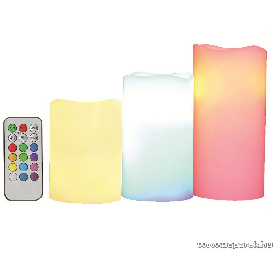 HOME CDR 3/M Beltéri LED-es viaszgyertya szett, dekorációs világítás, távirányítóval (kiválasztható folyamatos vagy pislákoló fény funkcióval)