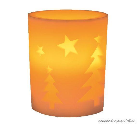 HOME CDW 11 Beltéri LED-es viaszgyertya, fenyő mintával, sárga pislákoló fénnyel