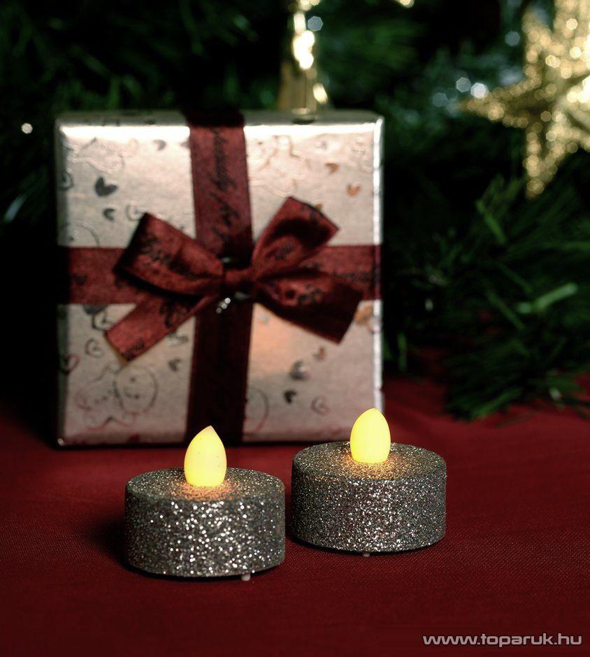 HOME CD 2/SX Beltéri elemes LED teamécses szett (2 db), 1 db sárga színű LED, pislákoló fényjáték funkcióval, ezüst színű glitter mécsesek