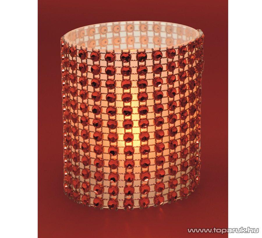 HOME CD 6/RD Beltéri PIROS színű elemes LED-es gyönygydekorációs mécses, sárga színű pislákoló fényjáték