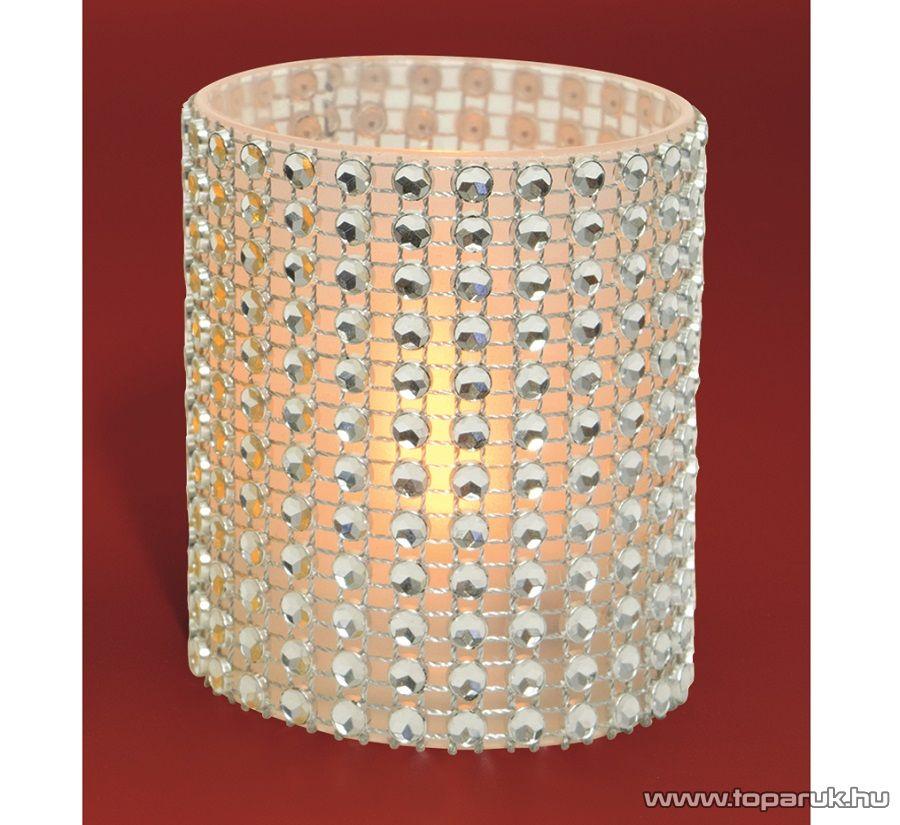 HOME CD 6/WH Beltéri FEHÉR színű elemes LED-es gyönygydekorációs mécses, sárga színű pislákoló fényjáték