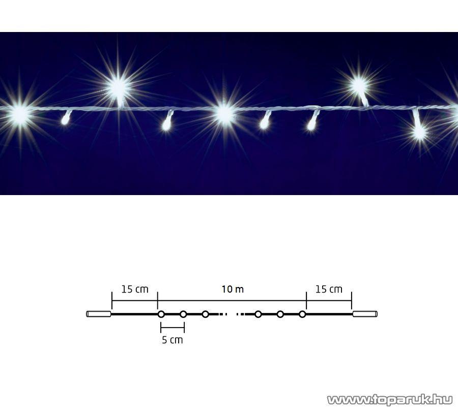 HOME DLI 200/WH Kültéri toldható állófényű 200 LED-es party fényfüzér, hideg fehér világítással, 10 m hosszú