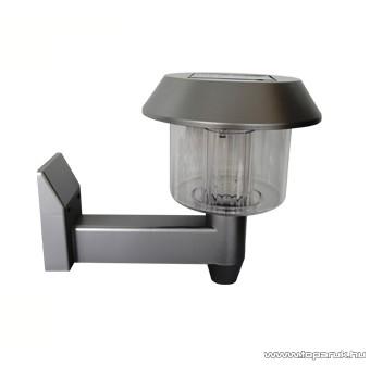 HOME EDC 5957 LED-es napelemes kerti szolár lámpa, falikar kivitel, ezüst