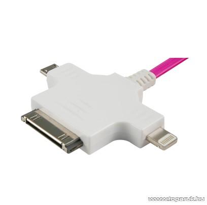 HOME EDC 8227 LED-es töltőkábel iPhone 4, iPhone5 és Android készülékek töltésére, 3 in 1