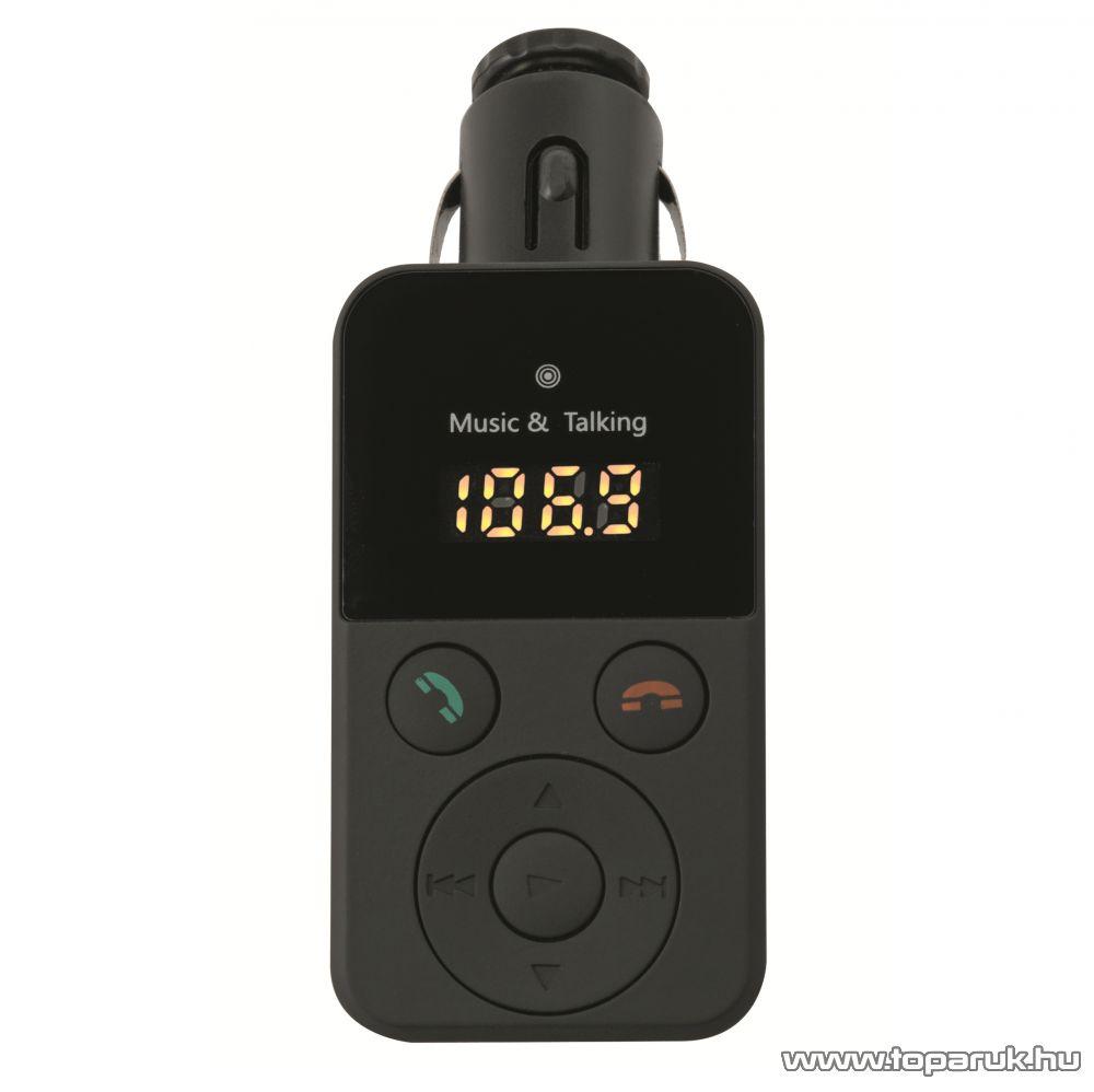 HOME FMBT 10 Mobiltelefon kihangosító és Bluetooth FM modulátor (transzmitter), 4 in 1